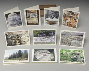 Box of 10 Stone Landscape Eco Notecards with Envelopes, Drystone Imagery and more
