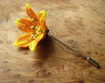 Orange Flower Brooch/Hat/Hair/Lapel Pin. Unique Gift. Beadstitched by hand with Swarovski Crystals, Japanese & Czech Seed Beads.