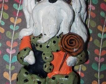 Folk Art Maltese Dog Halloween Vintage Style Handmade Ornament Ooak Ornie