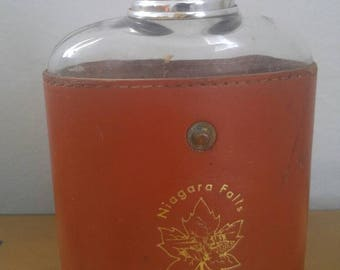 Vintage Niagra Falls Leather Wrapped Flask