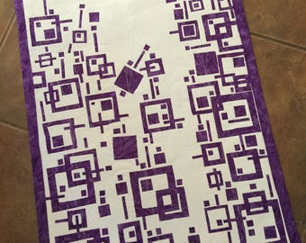 "Art Quilt, ""Lilac"",  Fused Geometry, Fiber art, Wall Hanging"