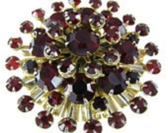 Vintage Red Rhinestone Brooch Dimensional Starburst  Brooch