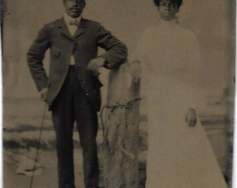 Black Americana Tintype photograph Free African American Couple
