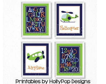 PRINTABLE Boy art Baby boy nursery prints Aviation art Navy blue lime nursery Airplane nursery print ABC art Printable nursery art #1259