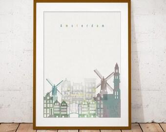 Amsterdam Print, Skyline Art Print, Poster, Modern Wall Art, New Home, Housewarming Gift, Digital Download