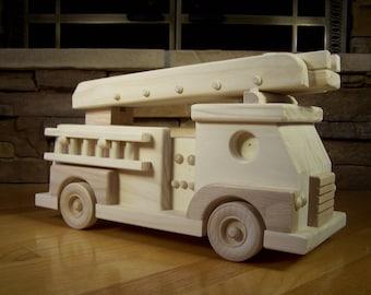 Handmade Wooden Fire Truck Toy