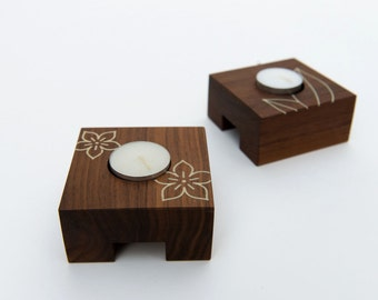 Walnut Candle Holders, Inlay Detailing, Set of 2, Modern Tealight Holder, Wooden Candle Holder
