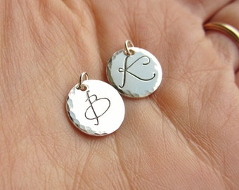 Custom initial charm, hammered sterling silver pendant, silver initial, personalized letter charm, large fancy font