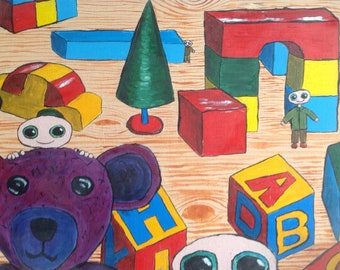 dweeblings in toyland original painting on canvas