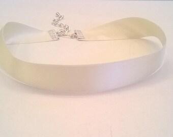 Ivory 100% Silk Ribbon Choker - Double Face Satin Ribbon - Bridal, Wedding, Prom Choker Necklace