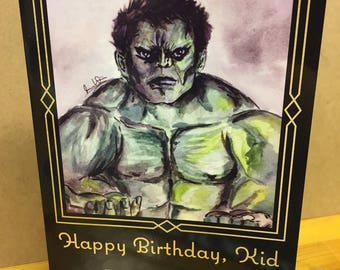 Hulk-Awkward Family Photo-5x7-Happy Birthday- Blank Inside -by Joanna Weinreich