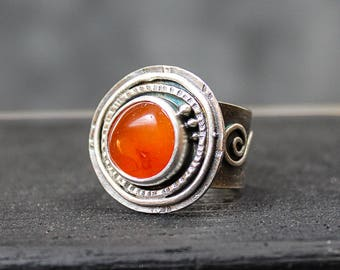 Deep Orange Carnelian Agate and Sterling Ring