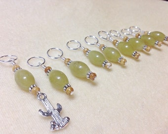 Cactus Beaded Stitch Marker Set | Snag Free Knitting Markers | Gifts for Knitters