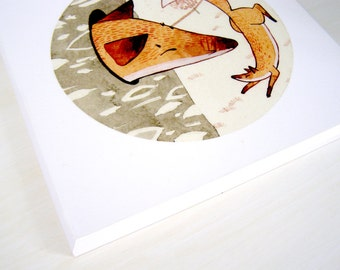 Aesop's Fables 'The Swollen Fox' Plaque Mounted Giclee Print Illustration