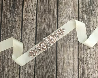 Ivory wedding sash, rhinestone wedding sash, all white sash, wedding belt, simple wedding sash, ivory sash