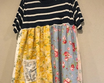 The Blossom Frock:  Upcycled pillowcases, t shirt, shabby chic, floral, festival, sustainable clothing, eco friendly, Melbury Road