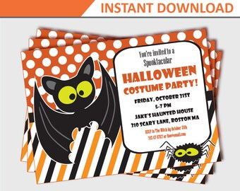 Kids Halloween Party Invitation - Halloween Party Invitations - Halloween Invites - Printable Halloween Invitations (Instant Download)