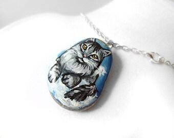 Gray Cat Painting, Pet Portrait, Maine Coon Art, Angel Necklace, Pet Pendant, Memorial Stone, Hand Painted Pebble Jewelry, Keepsake Gift