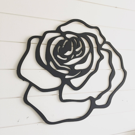 Black Silhouette Cutout Rose Iron On Patch Applique | Rose ... |Rose Cut Out