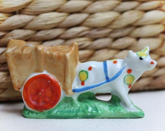 Mini Cow Cart made in Japan Mid-Century Adorable! Free Shipping