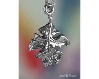 Sterling Silver Oak Leaf Charm Autumn Leaves Nature Tree Solid .925
