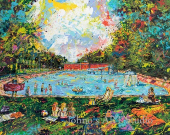 Pool painting print, Dormont Pool,  Summer fun art, swimming pool art, Limited Editon Print by Johno Prascak