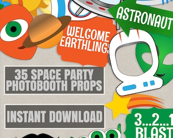 35 Space Party Props, astronaut party diy photo booth props, diy space party alien photobooth props, space party decoration, alien party diy
