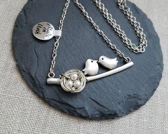 Bird Nest Necklace, Love Birds Necklace, Wire Wrapped Birds Nest Necklace, Kissing Bird Necklace, Birds On Branch Necklace, Handmade Jewelry