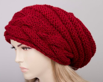 Big Sale -Slouchy beanie  oversized beanie hat winter knit hat for woman in red melanj  -COLOR OPTION  AVAILABLE