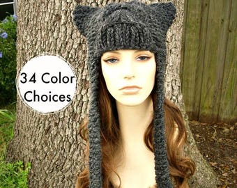 Grey Womens Hat - Cat Dragon Grey Ear Flap Hat Charcoal Grey Knit Hat Womens Accessories - Grey Hat Winter Hat - 34 Color Choices