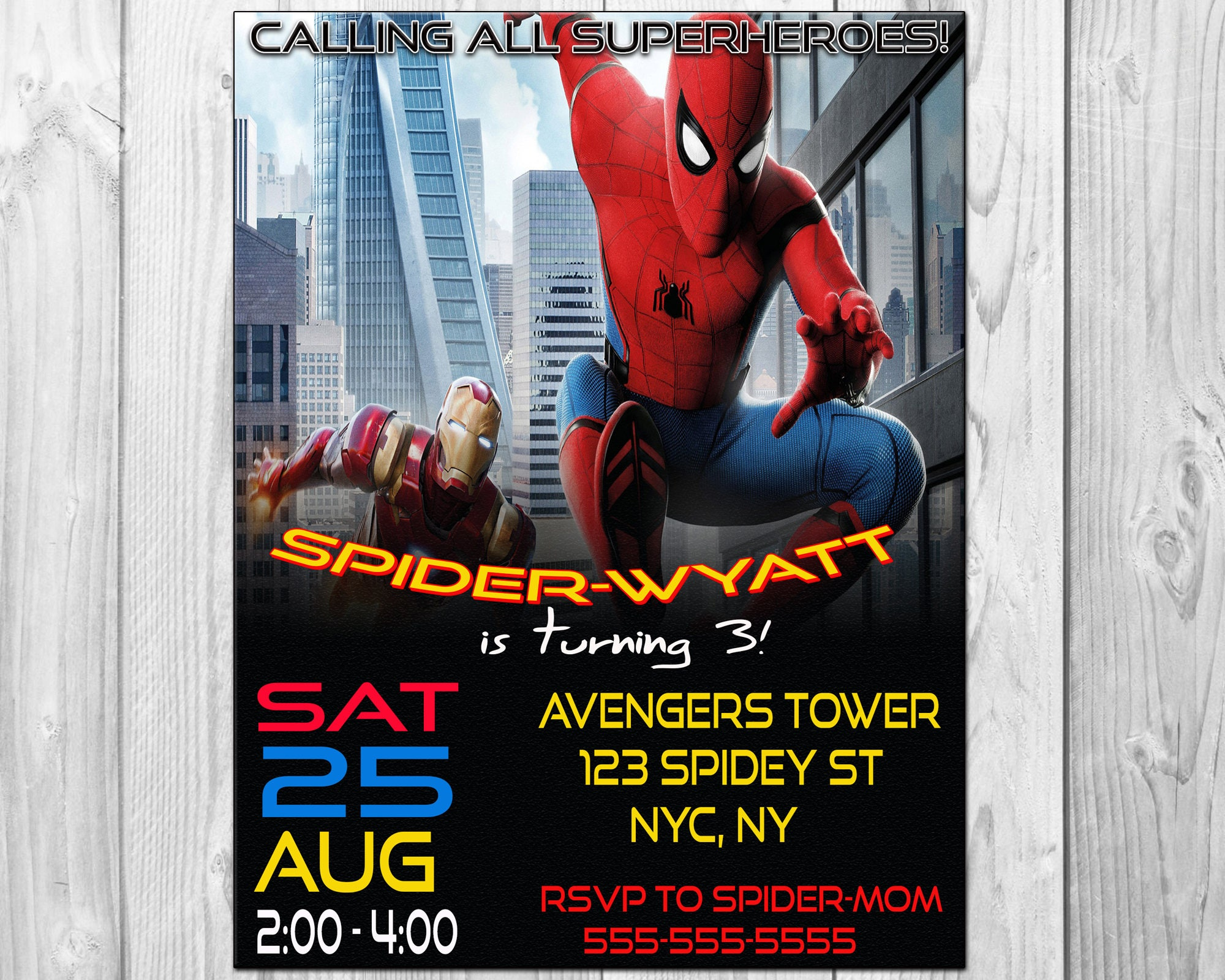 Spiderman Birthday Party Invitations Spiderman Invitation
