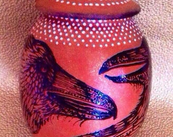 Two Raven Circle of Life Custom Cremation Urn of New Mexico Mica Clay in 5 Sizes