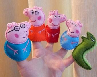 Peppa pig family finger puppets. Felt finger puppets. Finger family. Animal finger puppets. Felt Peppa pig toys.