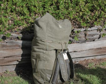 Vintage canvas military duffle bag