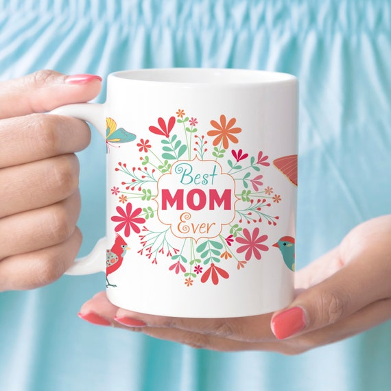 Mothers Day Coffee Mug with Butterflies Birds and Flowers | Microwave and Dishwasher Safe | Coating Made in USA