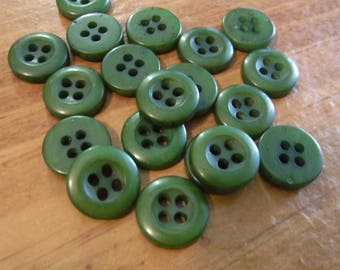 """19 Olive Green Streaked Round Buttons Size 7/16"""""""