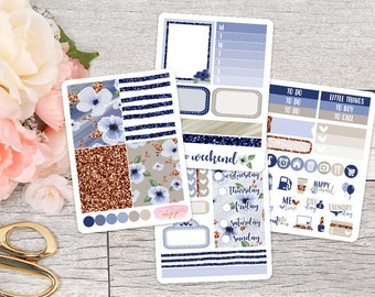 Les Fleurs Bleues Mini Sticker Kit    Planner Stickers