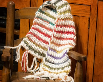 Bulky Knit Scarf With Fringe - Handknit Chunky Scarf - Child or Adult Size - Knit Scarf