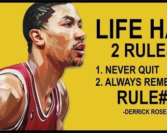 Derrick rose etsy derrick rose wall art decals quotes basketball player glossy cotton canvas prints framed ready to hang size 12x24 inches custom canvas voltagebd Gallery