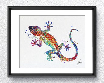 Gecko, Lizard Art Print Watercolor illustrations Wall Art Poster  Wall Decor Art Home Decor Wall Hanging Item 045