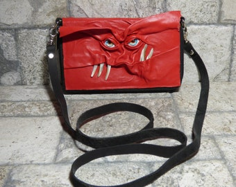 Wallet Purse Cross Body With Face Small Monster Harry Potter Labyrinth Red Black Leather Detachable Strap Convertible 393