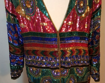 FREE  SHIPPING  Vintage Sequin Coat
