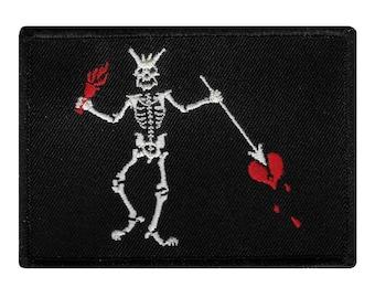 JOLLY ROGER PIRATE flag patch iron-on embroidered Skull Crossbones Blackbeard Edward Teach Black White Biker