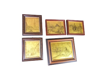 Five framed Etching on Goldfoil Germany Nuremberg Schwabach Unterreichenbach