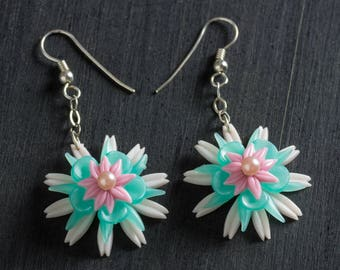 33% OFF SALE Pink & Green Passionflower Bloom Earrings with Vintage Flowers Dangling from Sterling Silver Chain, Sterling Ear Hooks Jewelry
