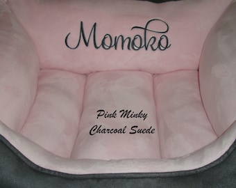 """One Piece  20"""" x 24"""" Dog Bed - Cat Bed  - Minky and Micro Suede - Personalization included"""