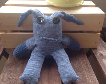 sock monster floppy ear blue