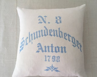 Vintage Hungarian Hand Spun Linen Cushion Pillow COVER ONLY Hand blocked in Blue for Rustic Interior Homeware