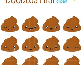 Funny Poop Clip Art for Scrapbooking Card Making Cupcake Toppers Paper Crafts