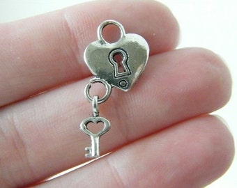 8 Heart lock and key charms antique silver tone H81